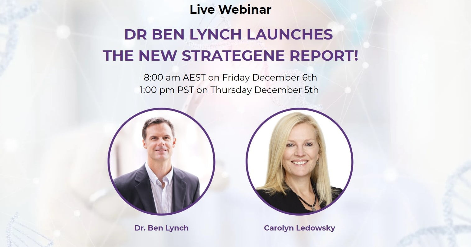 DR BEN LYNCH LAUNCHES   THE NEW STRATEGENE REPORT!